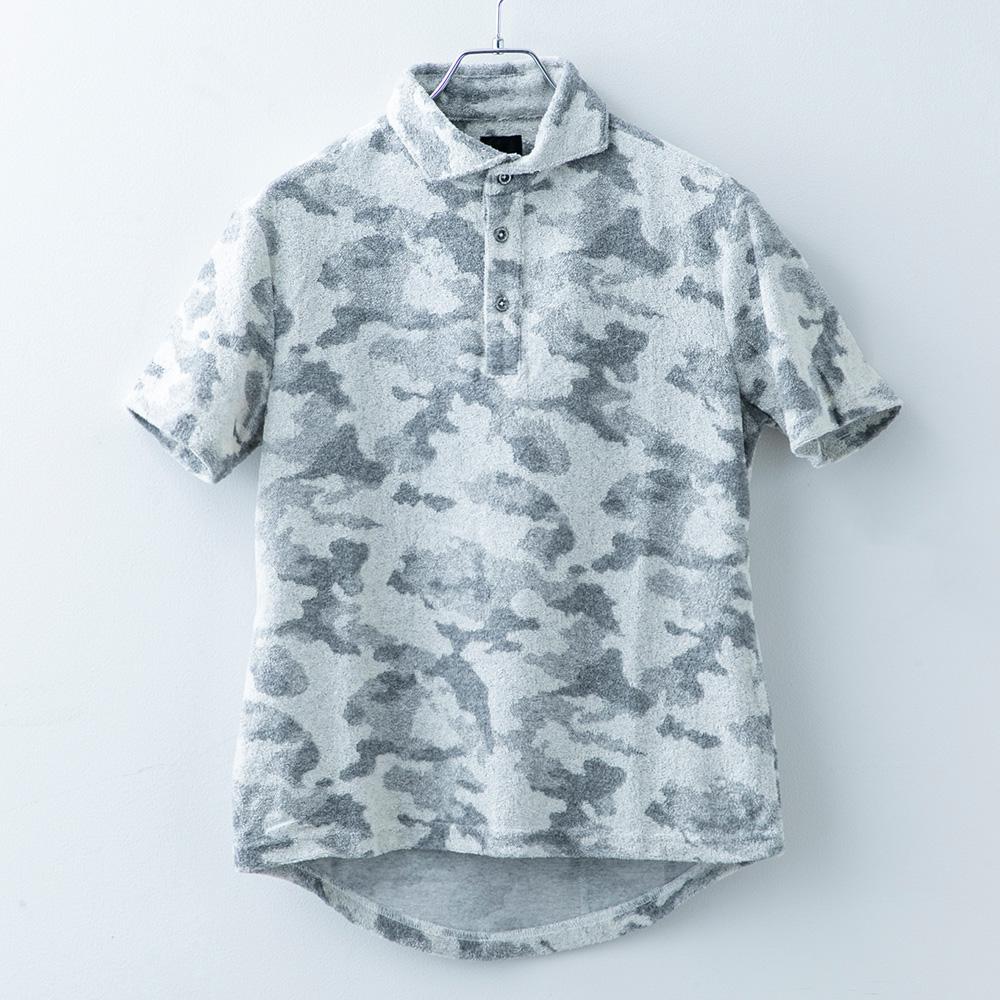 カモフラ柄パイルポロシャツ
