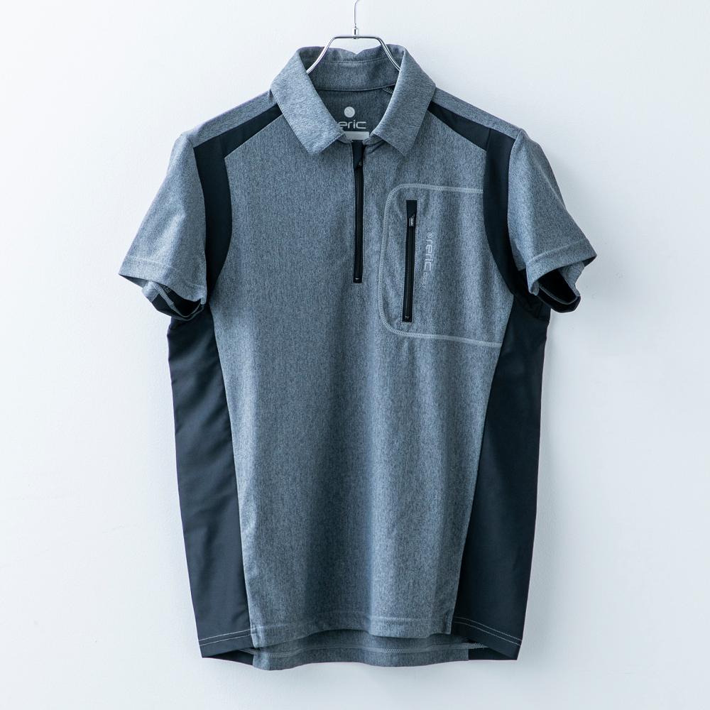 ハイストレッチ ハーフジップ 半袖ポロシャツ